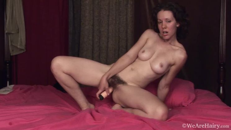 Hairy maid Candy Smith enjoys her new found toys